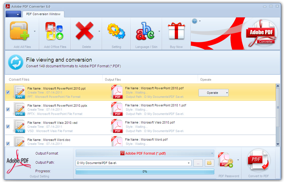Click to view Adobe PDF Converter screenshots